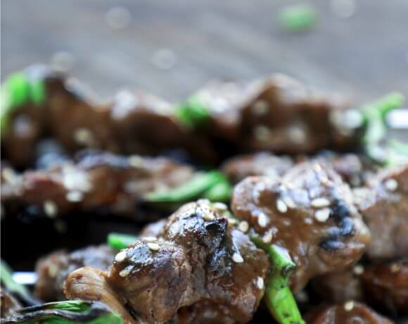 This Keto Teriyaki Beef on a Stick can also be made with shrimp or chicken! Low Carb