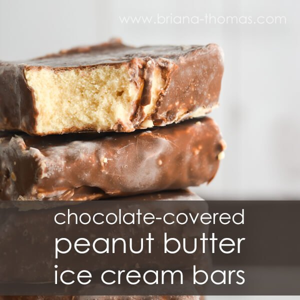 Keto chocolate covered peanut butter ice cream bars