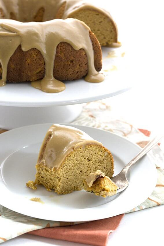 slice of low carb pumpkin caramel bundt cake on white plate