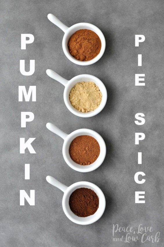 spices lined up in white bowls for pumpkin pie spice recipe
