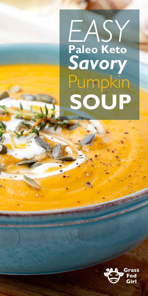 pumpkin soup with creme fraiche garnish