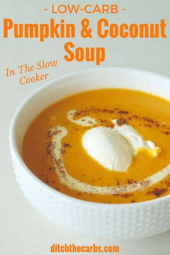 Pumpkin & Coconut Soup in white bowl