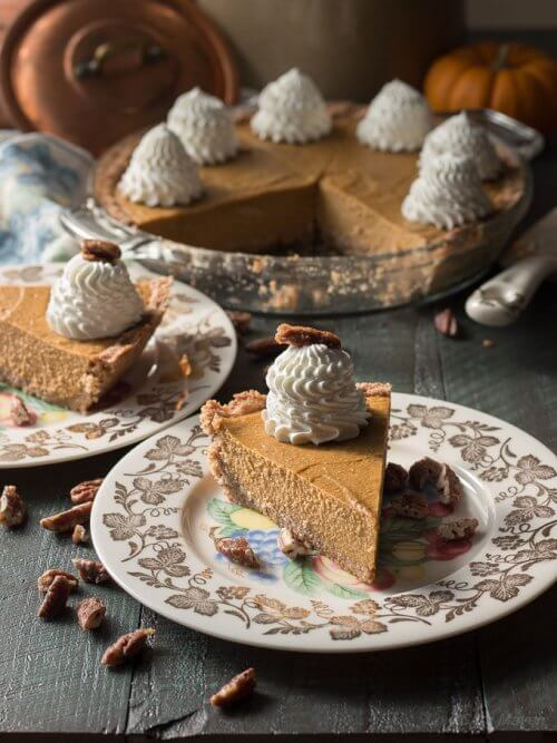 no bake pumpkin cheesecake on vintage plate