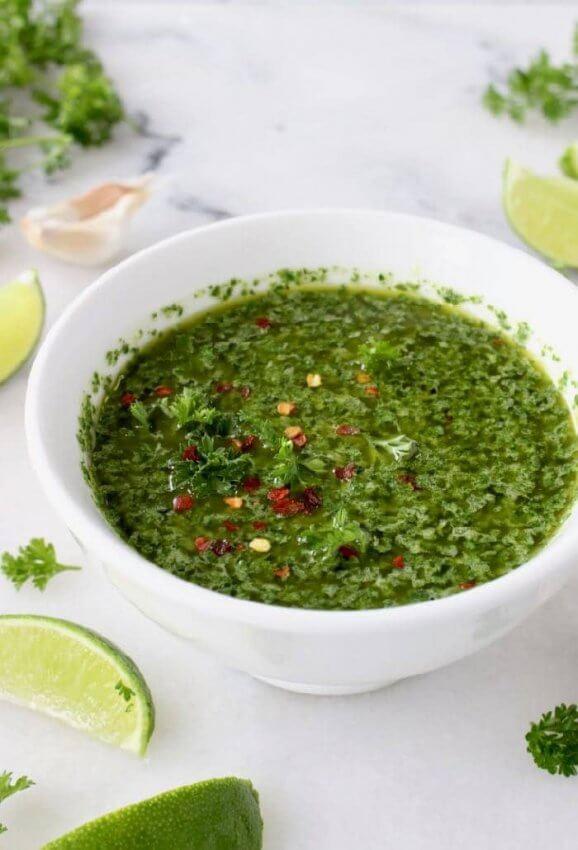Keto Chimichurri Sauce in White bowl