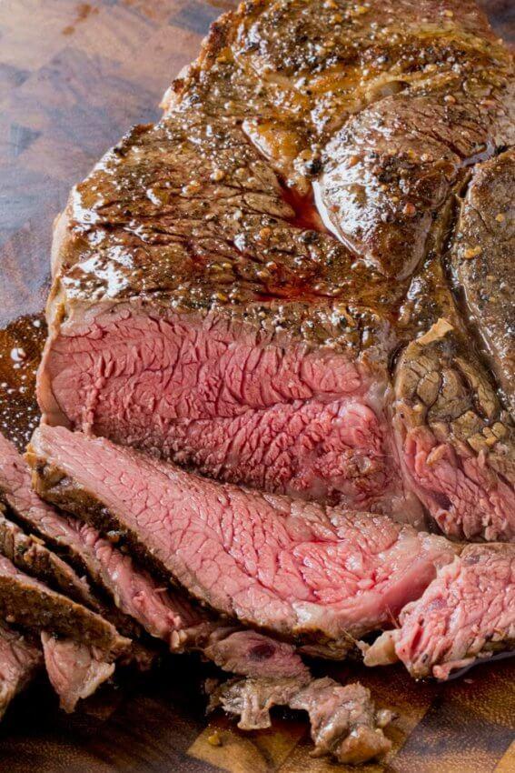 Sliced Roast Beef on Cutting Board