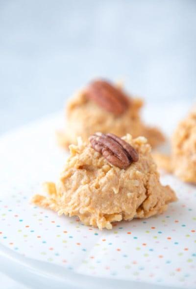 No Bake Keto Pumpkin Haystack Cookies on Parchment