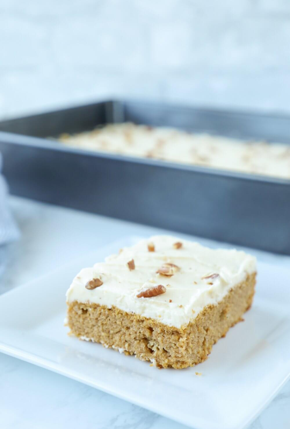 Low Carb Keto Pumpkin Sheet Cake Square Piece