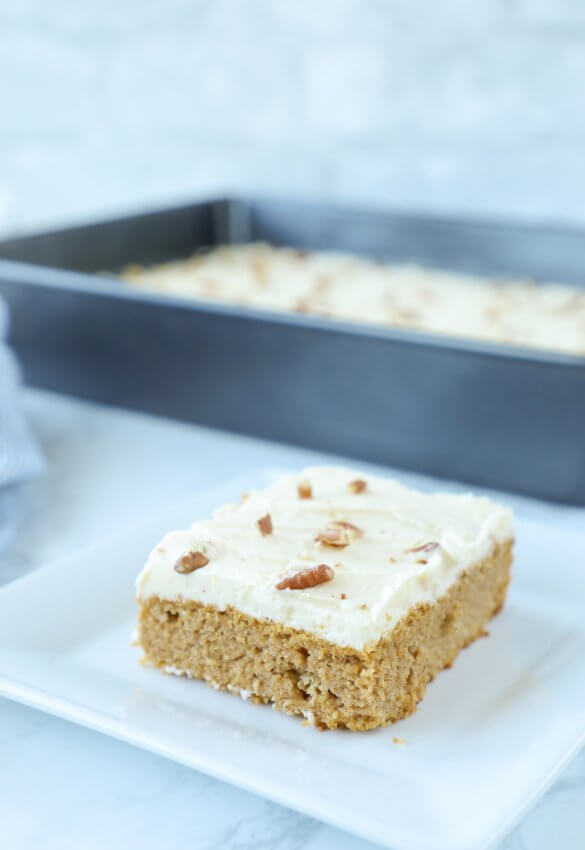 Low Carb Keto Pumpkin Spice Sheet Cake Square Piece