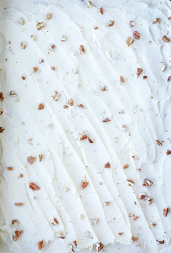Top view of Keto Pumpkin Spice Sheet Cake with Cream Cheese Frosting and Pecans
