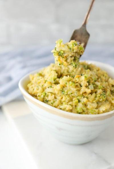 Forkful of Keto Cheesy Broccoli & Cauliflower Rice