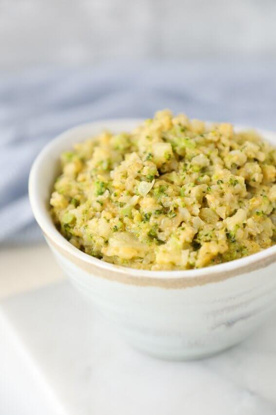 Keto Cheesy Broccoli & Cauliflower Rice in a bowl.