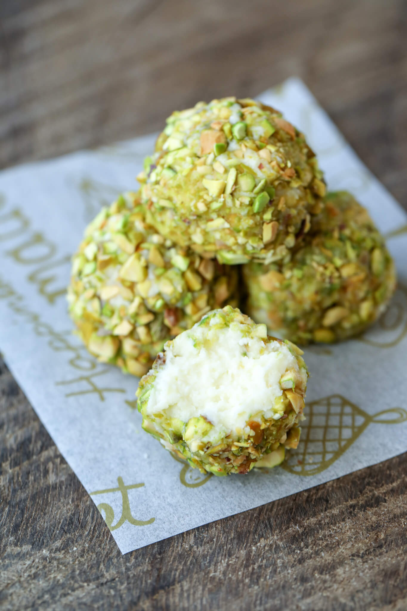 Cross section of Keto Pistachio Truffles
