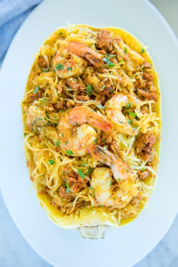 Top view of keto shrimp & chorizo spaghetti squash bowls