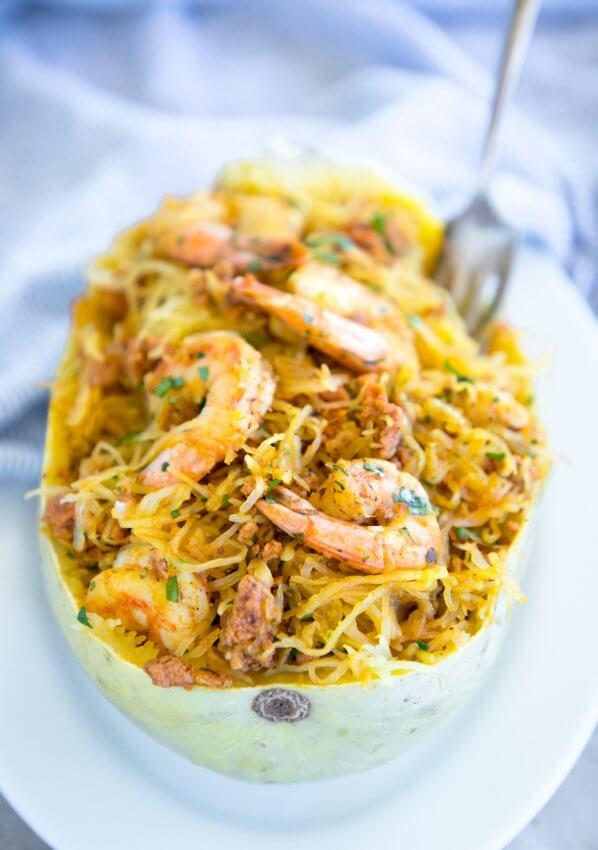 Keto Shrimp & Chorizo Spaghetti Squash Bowl on white plate