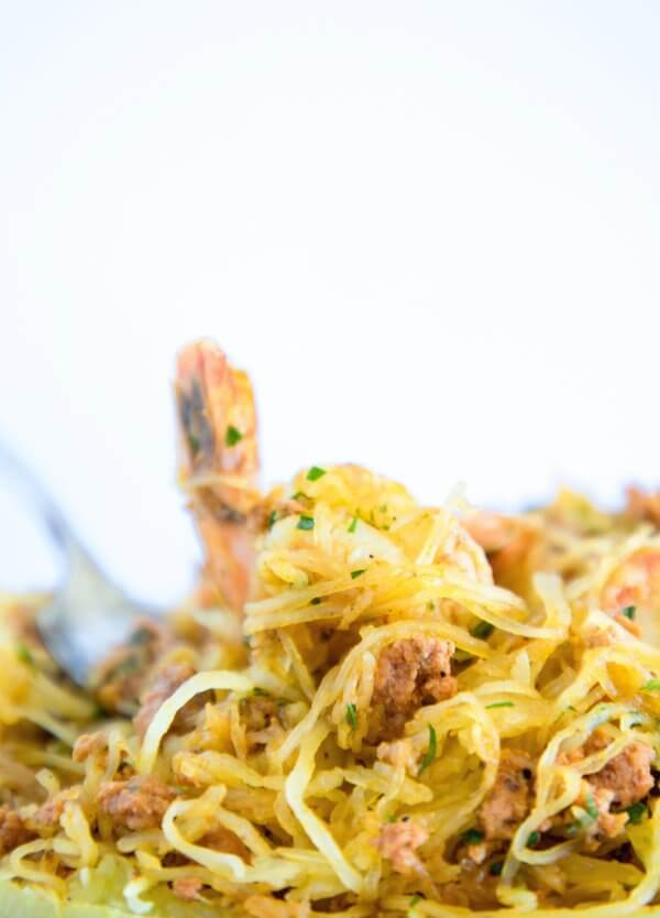 Forkful of keto shrimp & chorizo spaghetti squash