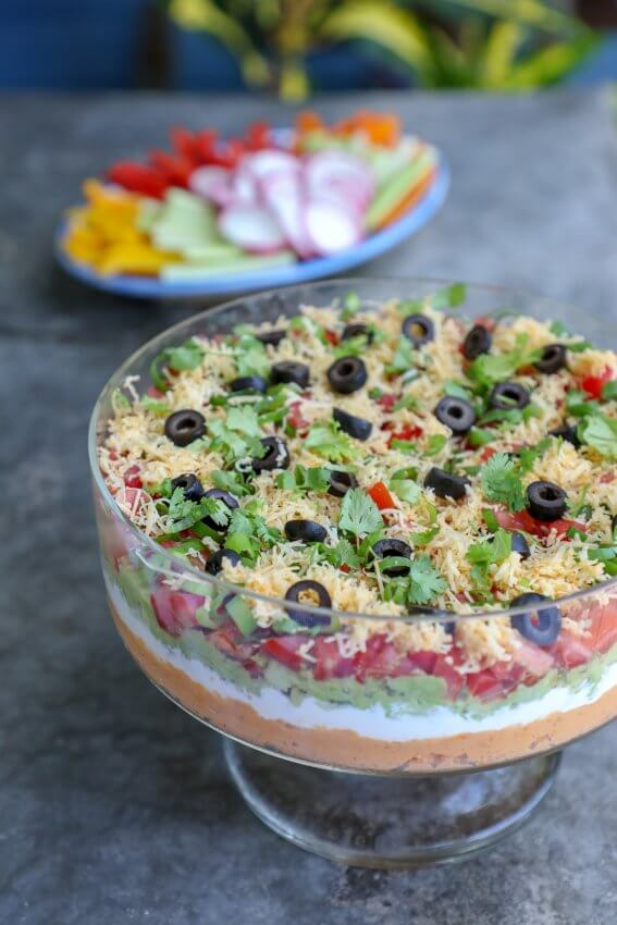 Closeup of Keto 7 Layer Dip in Glass Bowl