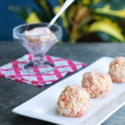 Keto Strawberry Shortcake Ice Cream Bon Bons on a grey background