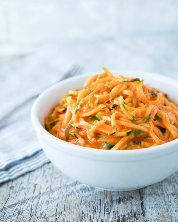 Zoodles with Roasted Red Pepper Cream Sauce - Keto for Life