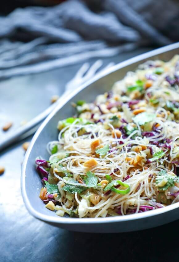 Keto Asian Noodle Salad with Peanut Sauce side view