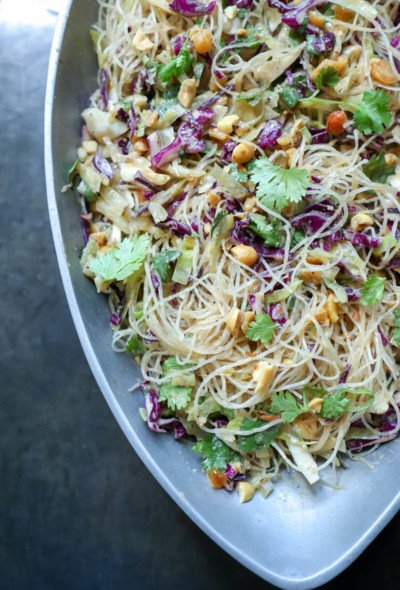 Keto Asian Noodle Salad with Peanut Sauce in silver bowl