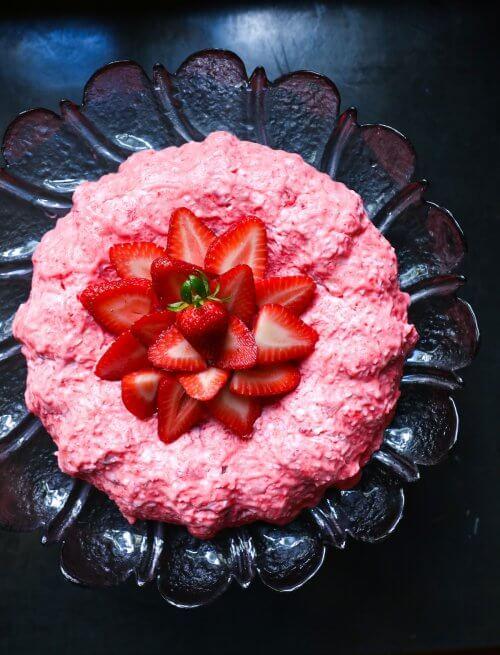 Keto Strawberry Jello Salad on black background