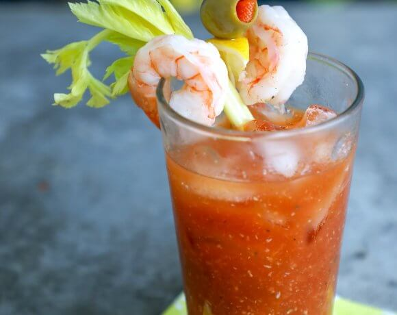 Keto Bloody Mary with Shrimp and Olives
