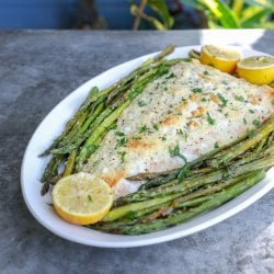 Keto Sheet Pan Salmon and Asparagus on a white platter