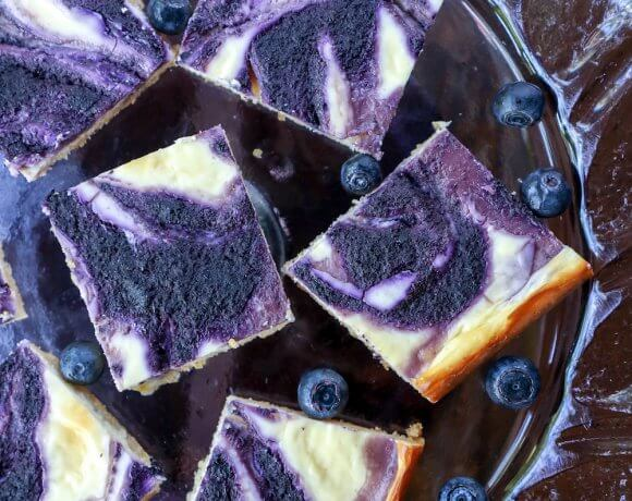 Easy Keto Blueberry Cheesecake Bars cut into squares