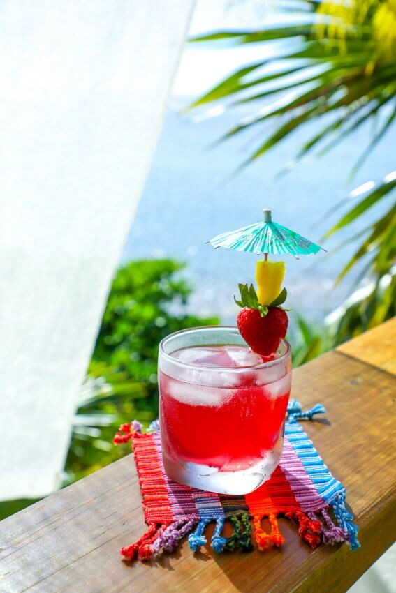 easy keto rum punch on rainbow coaster