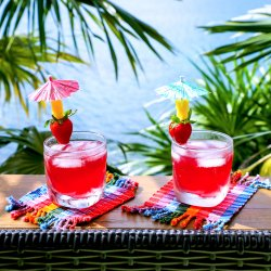 Easy Keto Rum Punch on deck railing
