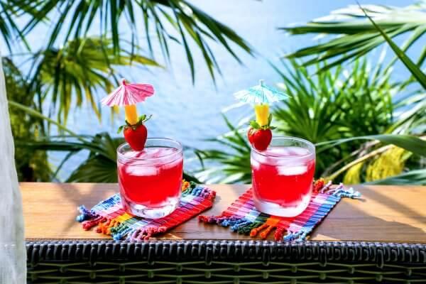 Easy Keto Rum Punch on deck railing