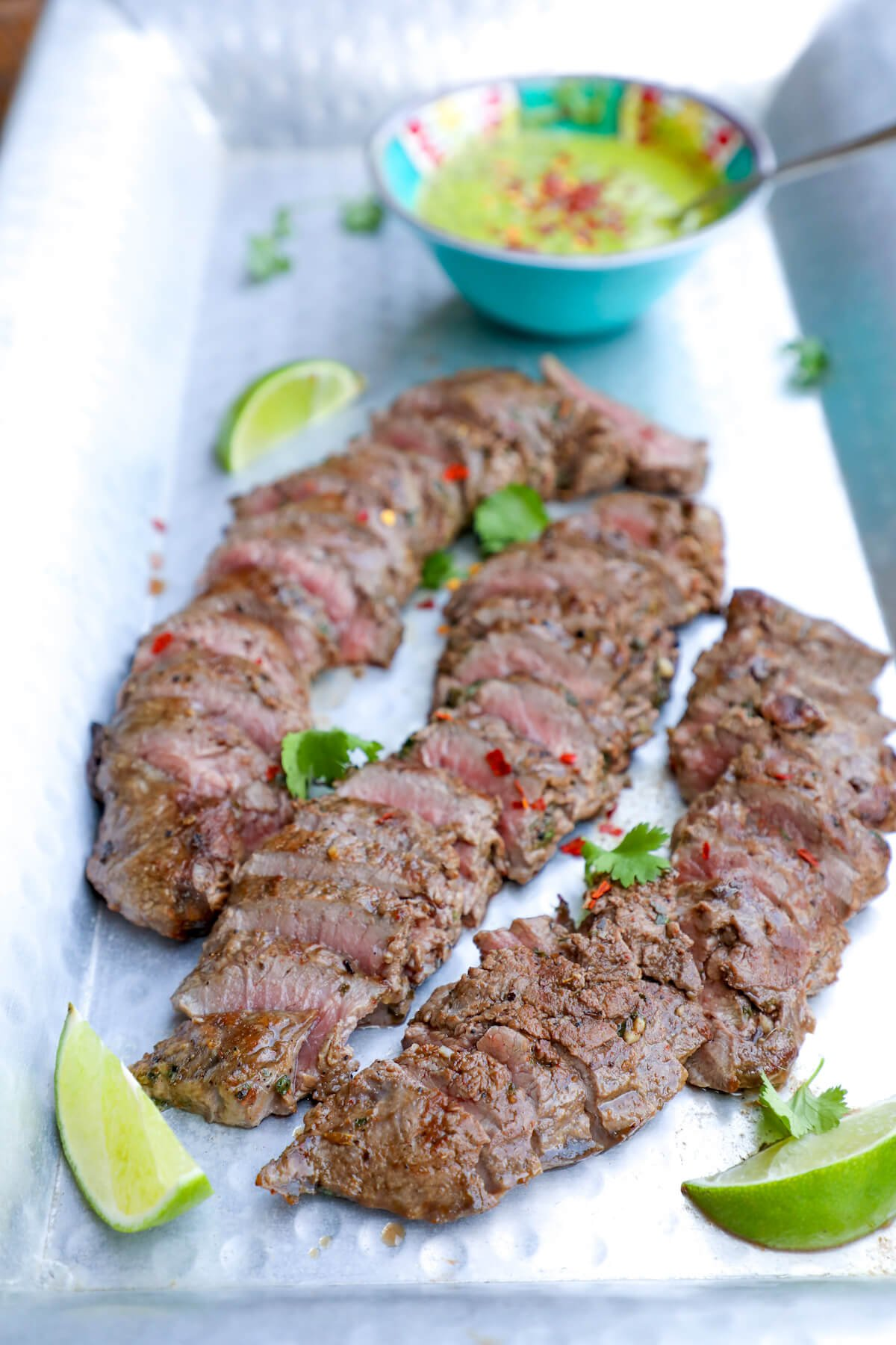 This Keto Carne Asada & Chimichurri Sauce is the perfect low carb grilling recipe for summer entertaining!  Whole 30, Paleo, Atkins, Nut Free, Egg Free, and Dairy Free!