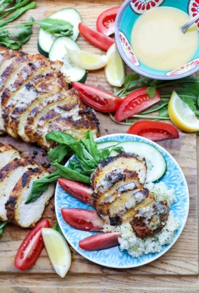 Easy Keto Chicken Shawarma on wooden cutting board