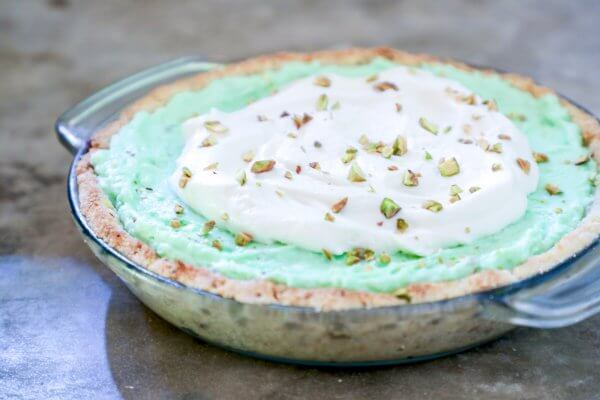 Keto Pistachio Pudding Pie in Glass Pie Plate