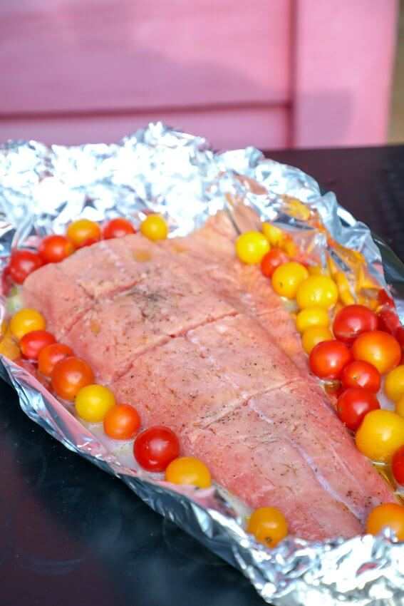 Keto Salmon in Foil Packets raw before grilling