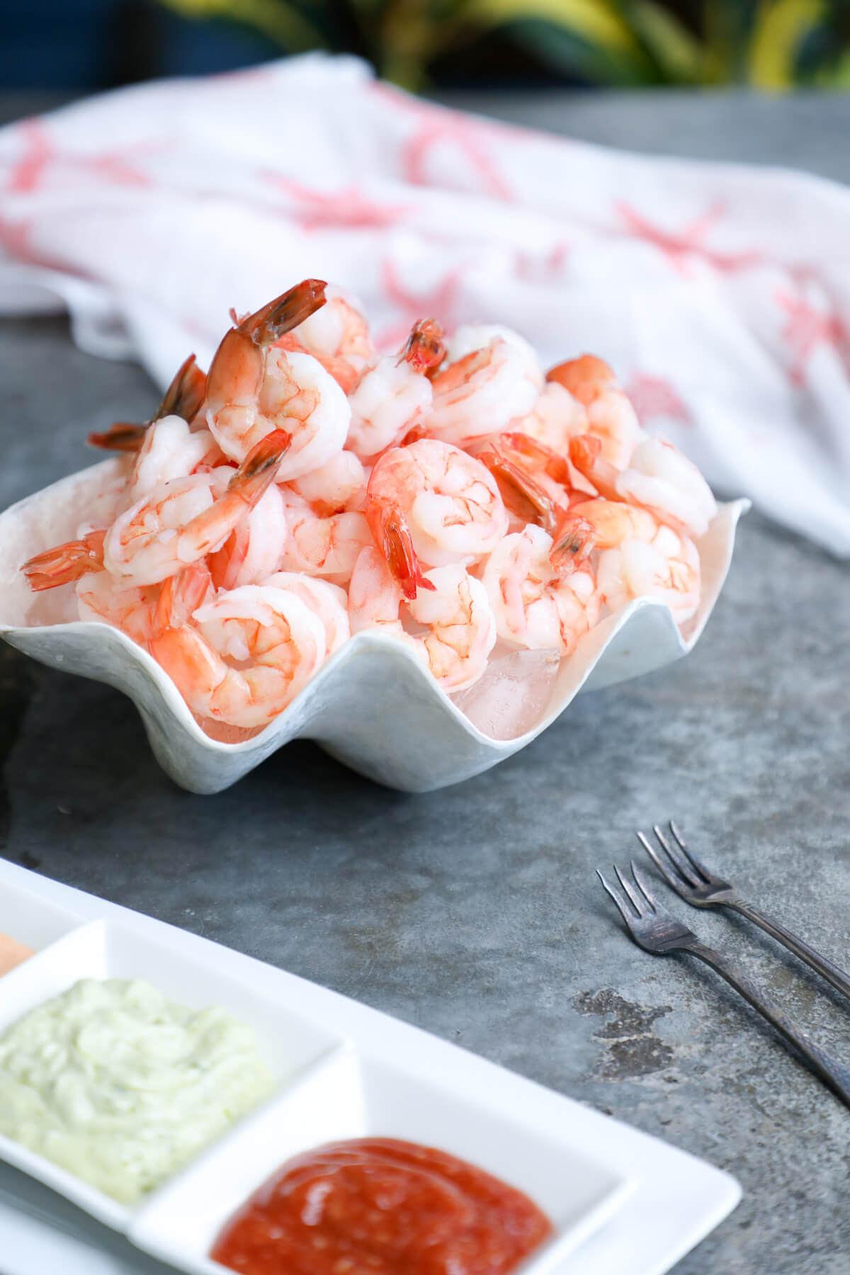 This Keto Shrimp Cocktail with 3 Sauces takes the classic shrimp cocktail appetizer of the 90's to the next level!  Sweet, succulent shrimp with your choice of any or all of these 3 keto friendly dipping sauces that can be made in advance in just minutes!
