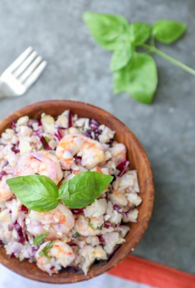 keto shrimp & cauliflower salad from the top