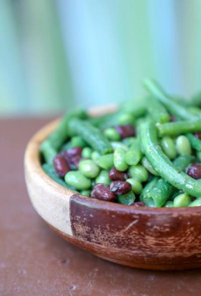 Keto 3 bean salad in wooden bowl