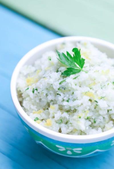 Keto Cauliflower Couscous in a blue bowl