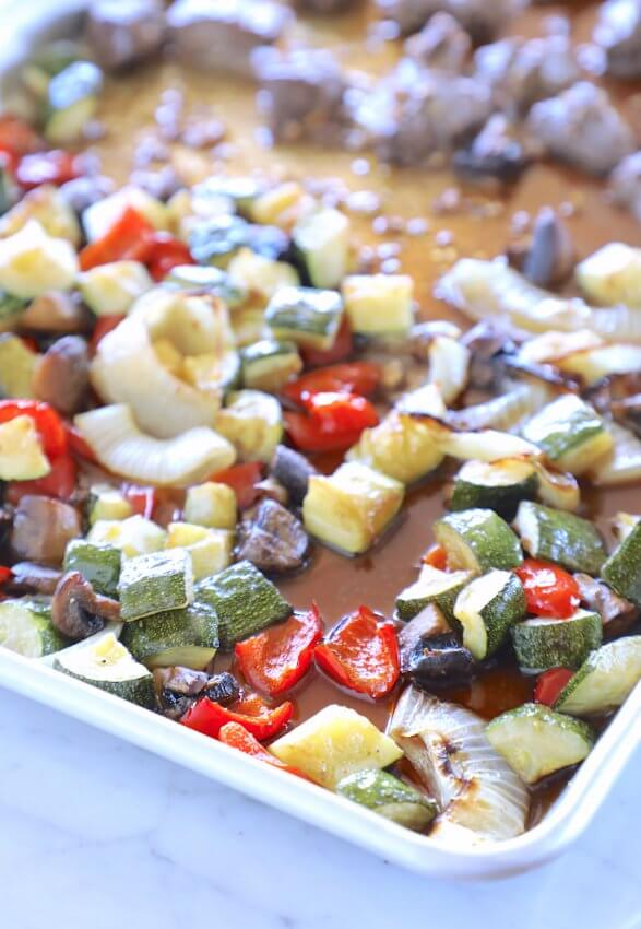 Keto Sheet Pan Hibachi Beef & Vegetables in the pan