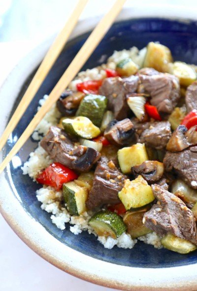 Keto Sheet Pan Hibachi Beef & Vegetables from above