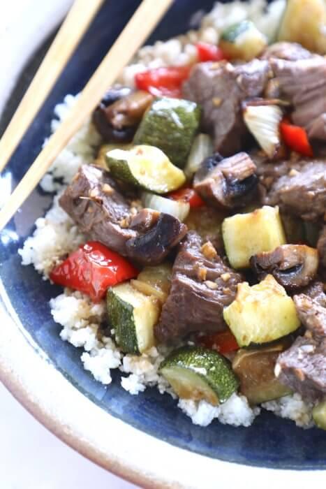 Keto Sheet Pan Hibachi Beef & Vegetables with chopsticks