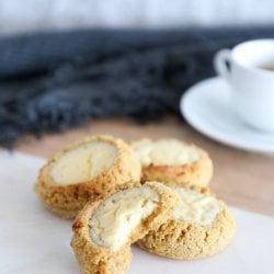 Keto Pumpkin Cheesecake Cookies on a serving board
