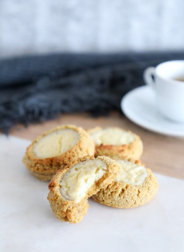 Keto Pumpkin Cheesecake Cookies on a serving board