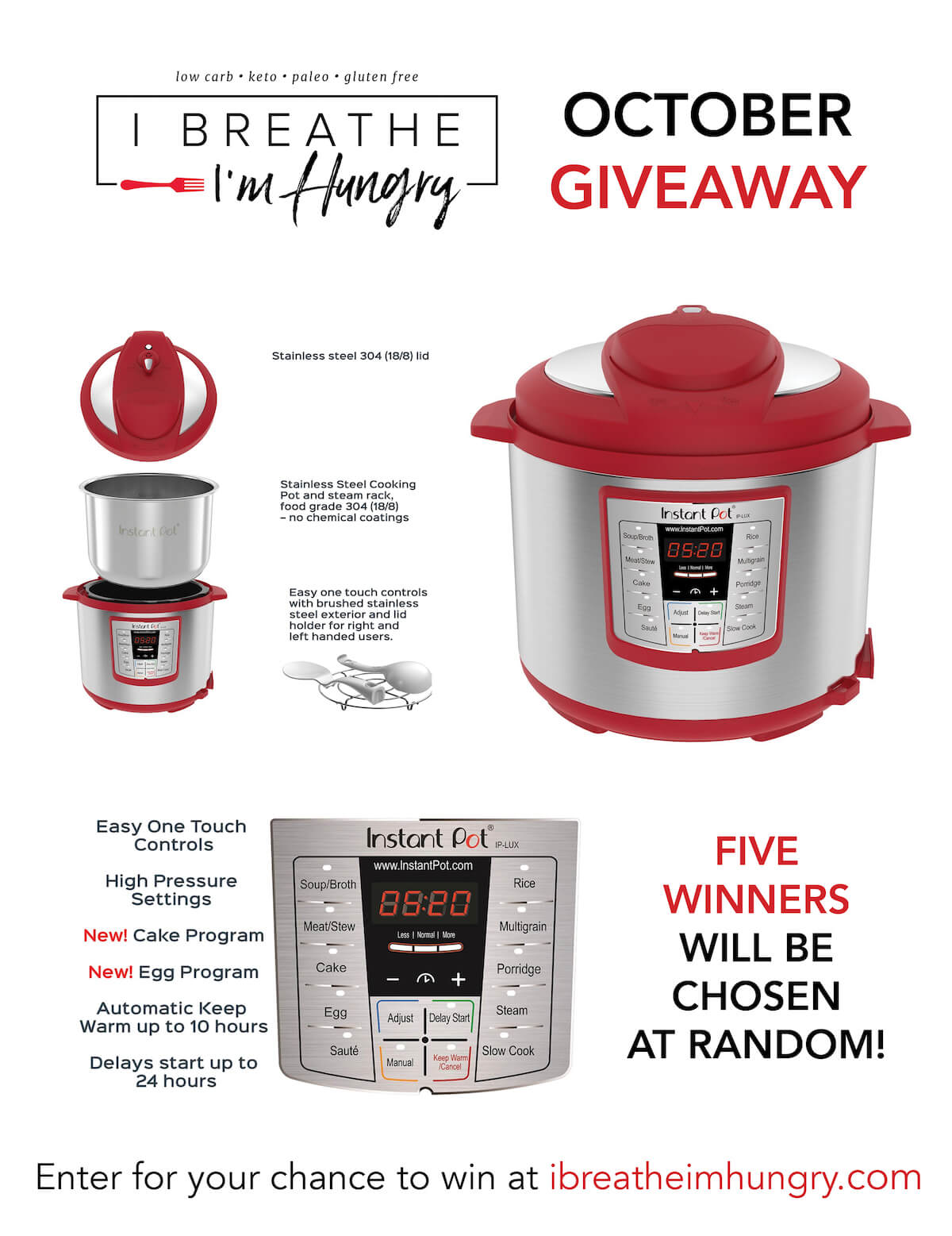 With fall (and soon, winter 😩) on the horizon, keto comfort foods are back on trend!With that in mind, we're giving away FIVE Instant Pots this month!