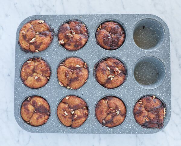 keto pumpkin spice monkey bread muffins baked and in the cupcake pan