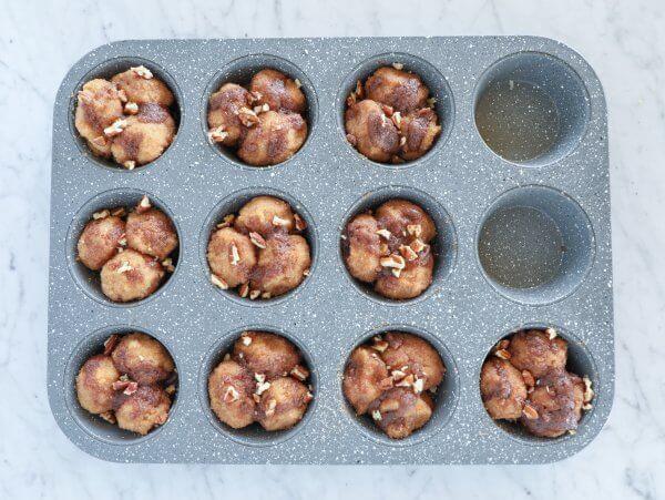 keto pumpkin spice monkey bread muffins unbaked