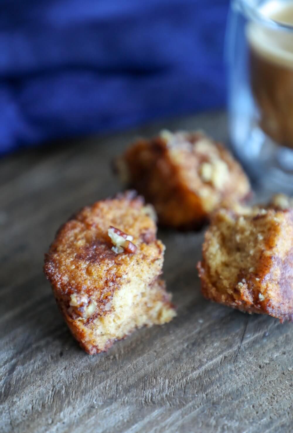 keto pumpkin spice monkey bread muffins in three pieces
