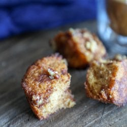 keto pumpkin spice monkey bread muffins in three pieces