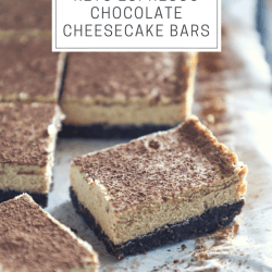 keto espresso cheesecake bars with text overlay